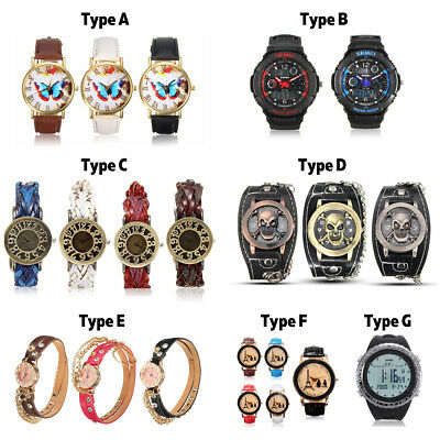 Casual Fashion Men's Women's Lady Leather Watches Analog Quartz Wrist Watch Gift