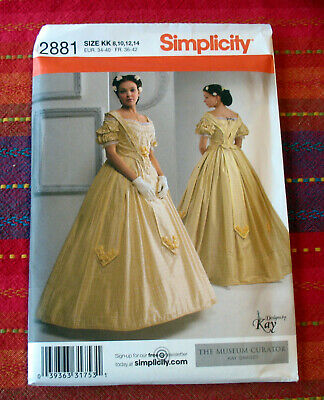 Simplicity 2881 Civil War Costume Gown Dress sz 8 - 14 Museum Curator Kay Gnagey