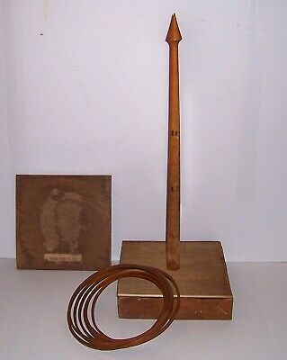 Vintage Antique Victorian Ring Toss Game 1870s All Wood Beveled Rings