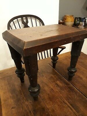 Good Solid Oak Stool With Carved Legs #coffee Bedside Sofa Table Victorian