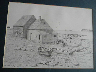 Framed Consuelo Eames Hanks LE 364/980 Signed Lithograph LAND'S END Maine 16x20