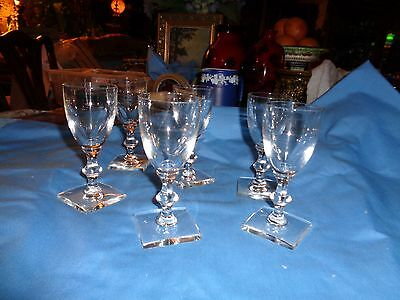 Set 5 Hawks crystal Sherry/wine Square Base - Stems # 2--ring well and flawless