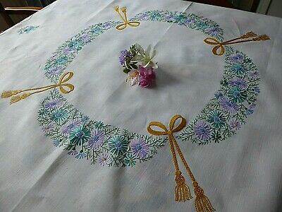 Vintage Hand Embroidered Tablecloth With Delicate Flower Circle And Ribbons