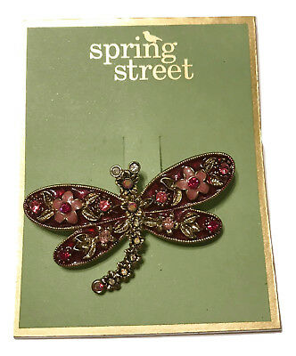 Green /& Brown Welforth Bejeweled Dragonfly Brooch Pin