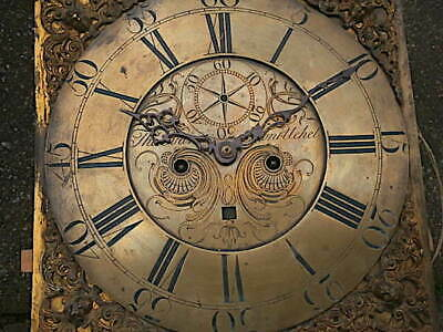 C1750 8 day LONGCASE GRANDFATHER CLOCK DIAL+movement 13X13     THOMAS EVANS, BON