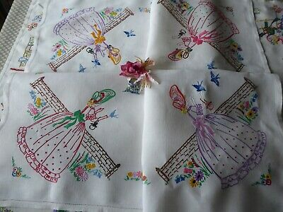 Vintage Hand Embroidered Tablecloth/ Lovely Crinoline Ladies And Bluebirds