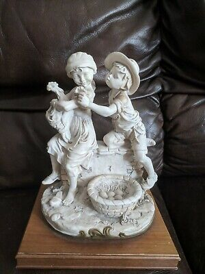 Antique Vintage Parian Children Group Figurine Signed by G.A. 10""