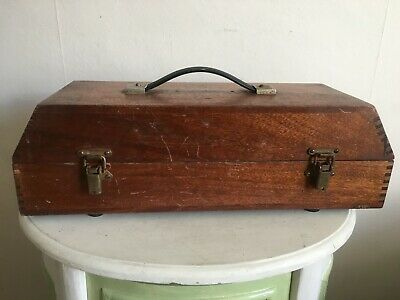 Lovely Vintage Wooden Engineers Dovetail Box With Piano Hinge & Latches