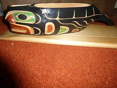 "Northwest Coast-First Nation hand carved cedar ""Killer Whale"" bowl!  Must See!"