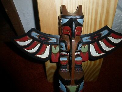 "Northwest Coast Alaskan Hand Carved Cedar ""Eagle-Bear-Whale-Wolf"" Totem. A Must!"