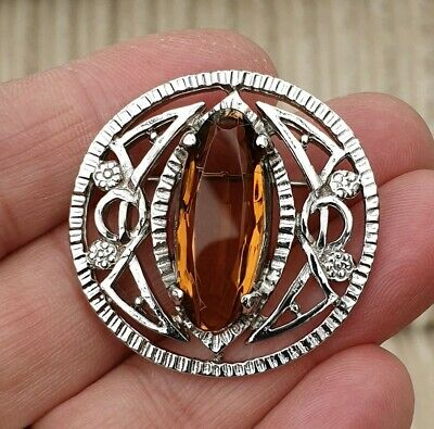 Stunning Vintage Art Deco Jewellery Lovely Citrine Crystal Silver Brooch Pin