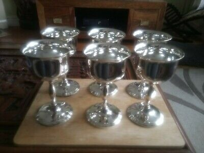 6 X 1930's Cavalier Silver Plated Over Brass Wine Goblets Glasses Vintage cups