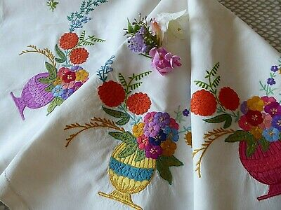 Vintage Hand Embroidered Linen Tablecloth=Striking Flowers -Beautiful