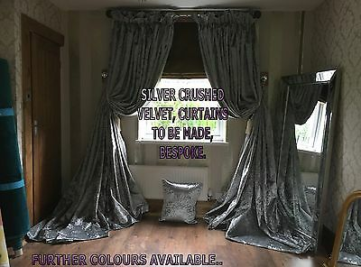 Made To Measure Silver Grey Crushed Velvet Lined Curtains. 5Ft-15Ft Wide Bay Mtm