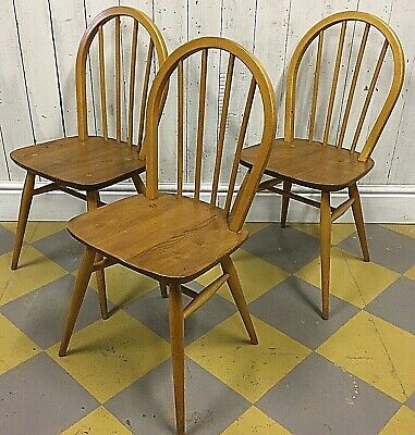 3x Ercol Windsor Dining Chairs Mid Century 1960s Danish Blonde Stacking Kitchen
