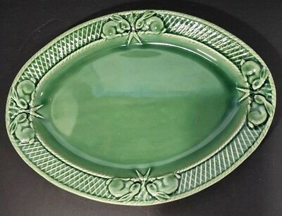 BORDALLO PINHEIRO Portugal Green LRG PLATTER Bunny Rabbit Easter Lattice Carrots