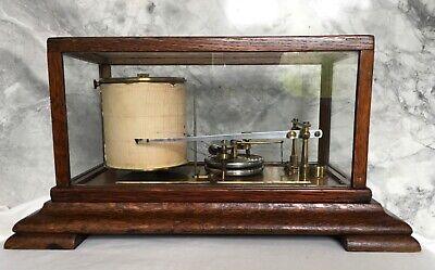 Antique Oak Drum Barograph Recorder - 19 century