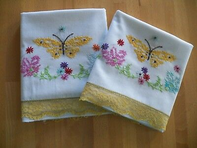 "Vintage Pr. White Cotton Cross Stitch Pillowcases Great Cond 32"" x 20"" Butterfly"