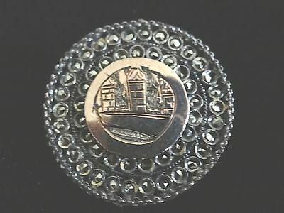 Antique Sterling Silver Marcasite .925 Brooch Hand Made Engraved 1800's Design