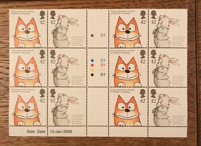 GB STAMPS 2006 ANIMAL TALES - MNH BLOCK OF 12 WITH DATE,TRAFFIC LIGHTS, CYL NO's