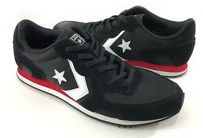 398f57526a48 Converse Men s Black Enamel White Red Thunderbolt Ox Suede Trainer Shoes 12