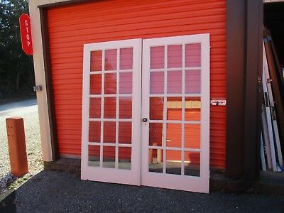 Pair Vintage French Doors Wood 15 PANE EACH  DOOR 35 7/8 x 79 CAN SHIP