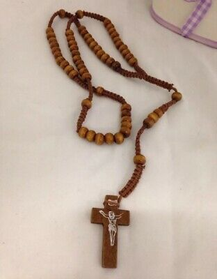 Dark Brown Rope Wooden Beads Religious Necklace Rosary With Jesus On Cross