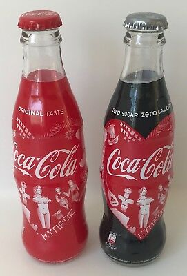 CYPRUS 2018 TWO EMPTY ORIGINAL COCA COLA GLASS BOTTLES 250ml LIMITED EDITION