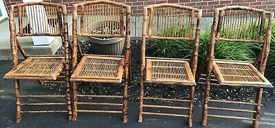 4 vintage tortoise shell rattan bamboo cane folding chairs Local PU Columbus OH