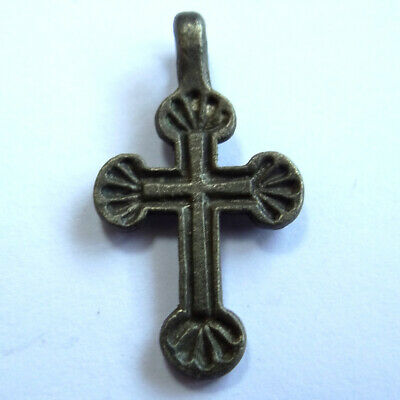 Ancient Artifact Roman Silver Small Cross Double Sides