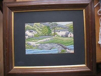 Lake District Country Scene in Long Stitch embroidery Completed Picture Framed