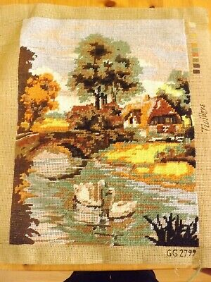 Countryside with River & Swans Part Completed Wool Tapestry Twilleys  29 x 39 cm