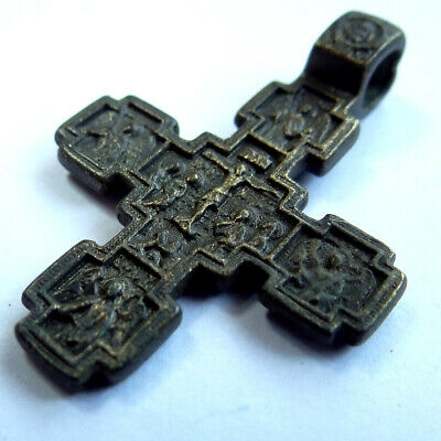 Ancient Artifact Bronze Medieval Orthodox Cross Double Sides