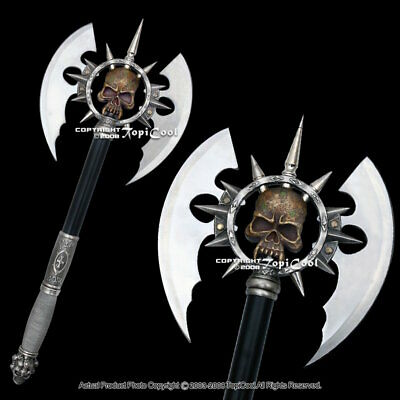 "25"" Death's Head Skull Fantasy Battle Hero Axe Hatchet with Display Plaque Sharp"