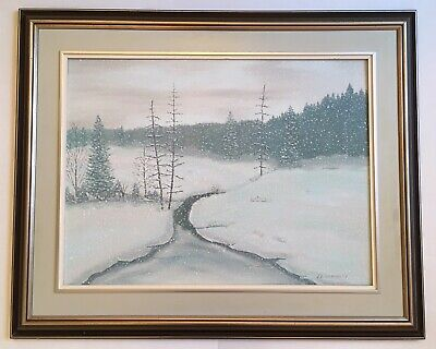 Vintage Snowy Landscape Trees River Snow Oil Painting signed J. F. Donnelly