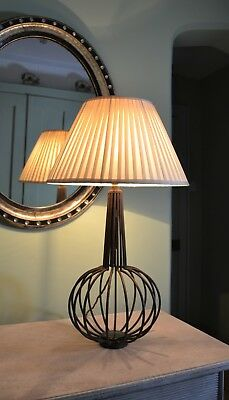 Unusual Mid 20th Century Iron Glass Brass Hall Bedroom Side Table Lamp