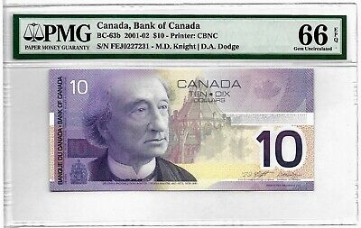 Canada -10 Dollars - Bc 63 2001 - Pmg Unc 66 Epq - New Holder