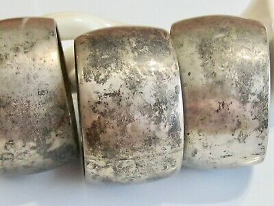 Neat Set Of 3 Old Antique European 800 Silver Napkin Rings Primitive Folk Sleek