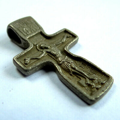 Russian Ancient Artifact Silver Medieval Cross With Crucifix