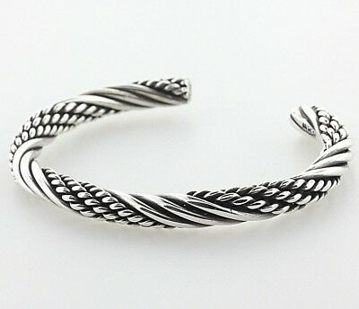 098b29d911e Vintage Sterling Silver 925 6mm Multi Strand Twisted Cable Cuff Bracelet -  6.75