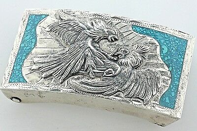 Vintage MMS Mexico Sterling Silver Turquoise Inlay Fighting Eagles Belt Buckle