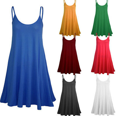 3f9ef3297bdf New Arrival Women Camisole Cami Flared Skater Strappy Vest Top Swing Mini  Dress