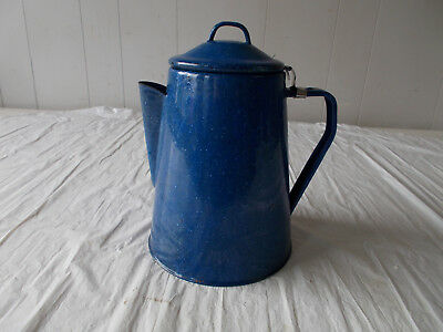Vtg Enamelware Graniteware Dark Blue White Speckled Coffee Tea Pot W/Strainer