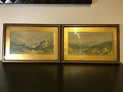 Pair of moorland watercolour picture prints old vintage antique