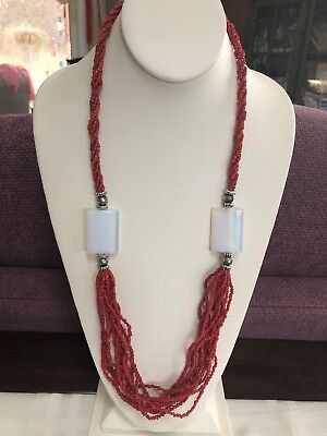 "Vintage Necklace Moon Stone Red Seed Bead 28"" Long Sweater Tibetan Silver"