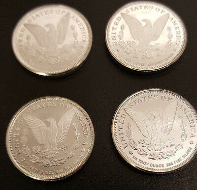 Lot of 4 Morgan Dollar Design** Silver Rounds 1/4 Oz. .999 Fine; Total of 1 Oz.