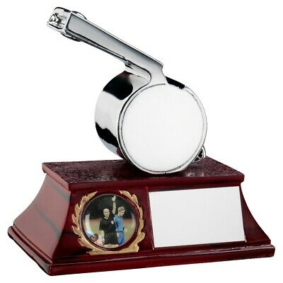 "Silver Metallic 'Officials' Whistle Football Trophy - 4.25"" free engraving & p&p"