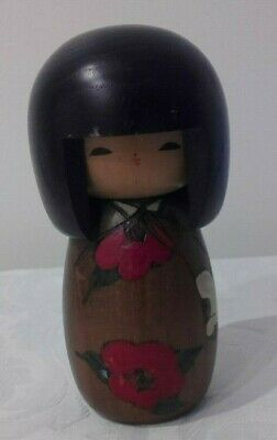 Vintage Japanese Kokeshi wooden doll hand painted signed