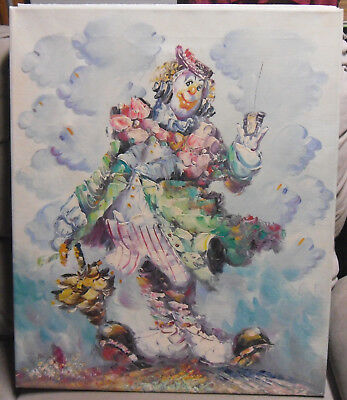 "3 Clown Oil Paintings by Morgan 20"" X 24"" Canvas on Stretcher Signed Nice"