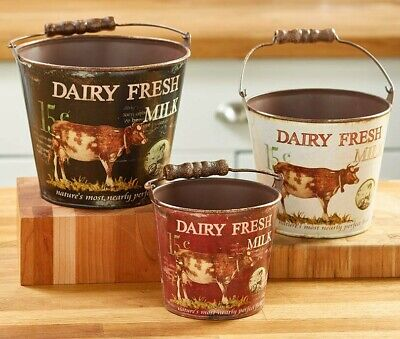 Set of 3 Country Farmhouse Metal Buckets Dairy Fresh Milk Cow NEW